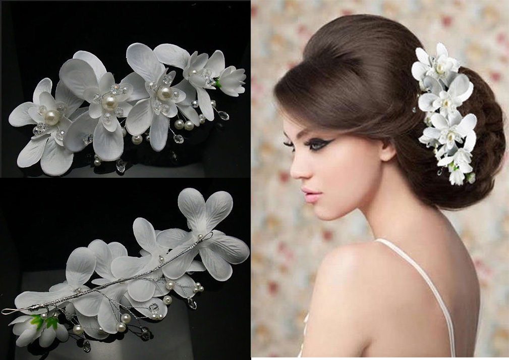 Wedding Jewelry White Orchid Flower Pearls Crystals Beads Bridal